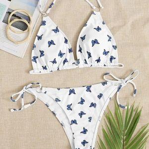 Other - Butterfly Print Tie Side Bikini